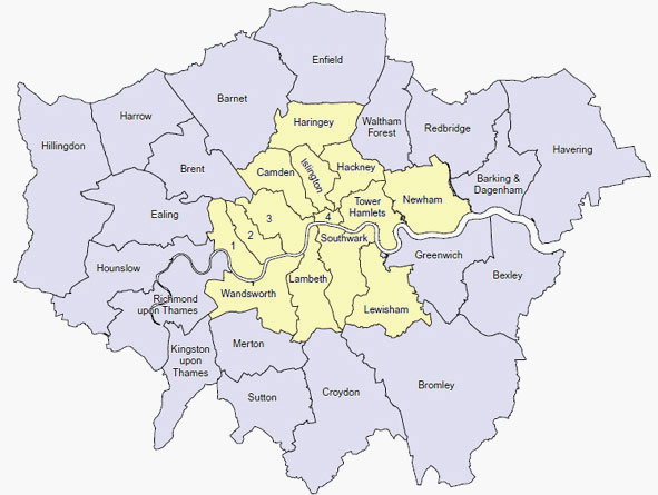 Map of key London areas